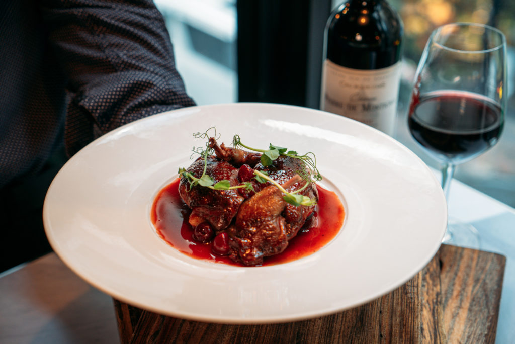 Roast Pigeon and French wine at Scarlett Hong Kong